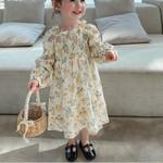 Off-Shoulder Floral Printed  Kids  Princess Dress Toddler Clothes