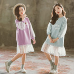 little girl's letter dress casual long sleeve Lace Clothes Kids