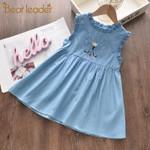 Dress Denim Casual Dress Kids Clothes Cartoon Embroidery