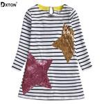 Cotton For Girls Stripe Long Sleeve Kids Dresses