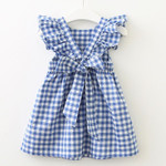 Flying sleeve Plaid Baby Girl Clothes Ruffles Backless Children