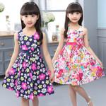 Girls Vest Dress Cotton Flower Print Children Wear