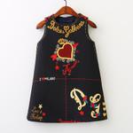 Girls Dress Style Embroidery Flower Vest Dress Toddler