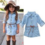 Denim Short Mini Dress Toddler Jean Long Sleeve Casual
