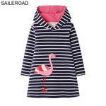 Animal Applique Girls Long Sleeve Dress for Kids Clothes
