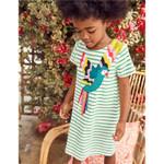 Princess Bird Applique Girls Cotton Dresses for Baby Stripe
