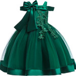 Embroidery Silk Princess Dress for Baby Girl Flower
