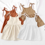 Girls Summer Cotton And Linen Lace-Up Dress Fashion