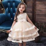 Kids Elegant Pearl Cake Princess Dress Girls Dresses