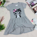 dress cat print grey baby girl dress children clothing children