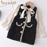 Patchwork Dress Fashion Party Costumes Kids Bowtie Casual Outfits