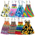 Girls Floral Dress Sling Ruffles Bohemian Beach