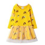 Long Sleeve Rainbow Girls Dress Clothing Party Tutu Baby Dresses