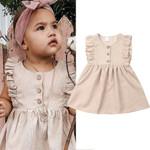 Clothing Toddler Baby Girl Solid Dress Ruffles Sleeveless