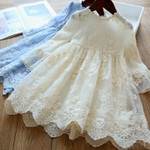 Lace Embroidery Long Sleeve Dress Children Vestidos