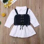 Baby Girls dress Princess Casual Shirt Dress + Denim Vest Long sleeve