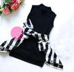 Toddler Baby Girls Summer Dress Striped Print Cotton Turtleneck