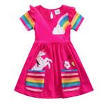 Girl short-sleeved unicorn dress pony cartoon dress