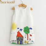Princess Dress Kids Clothes Graffiti Print Design for Baby Girls Clothes 3-8Y