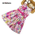 Bow Sleeveless Kids Dress For Girls Butterfly Girls Clothes