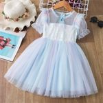 Girls Kids Dress With Cloak Party Costumes Children Clothes 3-8Y