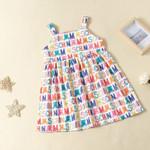 Dress Girls Summer Cute Strap Print Bear Letter Cute Layered Dress