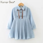 College Style Student   Long Sleeve Dress Kids Clothing Princess Dresses