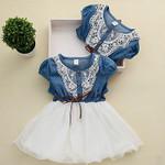 Girls Baby Kids Lace Belt Denim Tulle Stitching Dresses