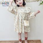 Long-Sleeve Floral Printed Ruffle Cute Kids  Princess Dress Toddler Clothes