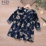 Round  Collar  Long Sleeve Flower Printed Warm Sweet Children Dress