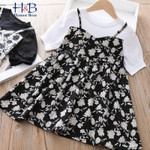 Puff-Sleeve  Floral Printed  Fake Two piece Kids  Dress Toddler Clothes