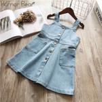 Kids Girls Sleeveless Denim Wash Strap Dress