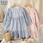 Children Clothing Floral Dress Loose Flared Sleeve