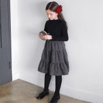 Kids Plaid Dress Elastic Knit Top Patchwork Baby Princess Dress c