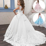 Long Bridesmaid Kids Dresses For Girls Children Princess