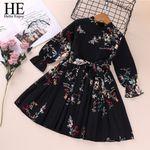 Clothes Long Sleeve Printed Bow Elegant Evening Princess Dress