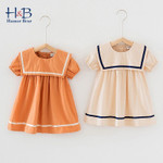 Short Sleeve Strpied  Printed  College style Princess Dress Toddler