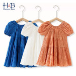 Ruff-Sleeve Solid Color Backless Bow Cute  Dress Toddler Clothes