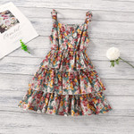 Bohemia Style Floral Printed Culotte Dresses Kids Clothes