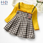 Sling Plaid Long-Sleeved Girls Fake Two-Piece Lace Dress