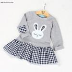 Clothes Girl Baby Dress Long Sleeve Cartoon Embroiderie