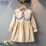 Dress Ruffles Collar Long Sleeves Dress Children Clothing