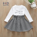 Long Sleeve Casual Dresses Letter Printed Striped Patchwork Toddler