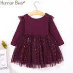 Kids Dress Lace Long Sleeve Star Baby Girls Dress