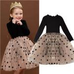 Kids Star Print Sequin Long Sleeve Dress  Vestido