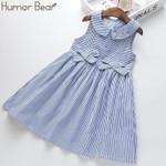 Girls Dress Striped Bow Children Clothing