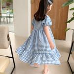 Puff-Sleeve  Plaid Printed  Kids  Princess Dress Toddler Clothes