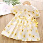 Puff-Sleeve Sunflower Printed   Dress Toddler Clothes For 2-6Y