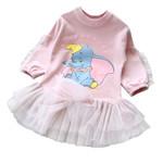Kids Girls Long Sleeve Cotton Cartoon Elephant Print Casual Dress