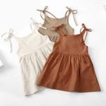 Princess Infant Girls Dress 4 Colors Solid Sleeveless Belt Knee Length